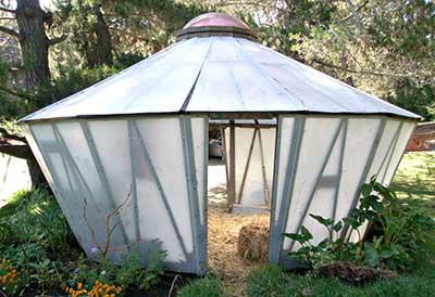 Little Fiberglas Yurt Greenhouse In Big Sur