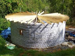 earthbag circular roof framing