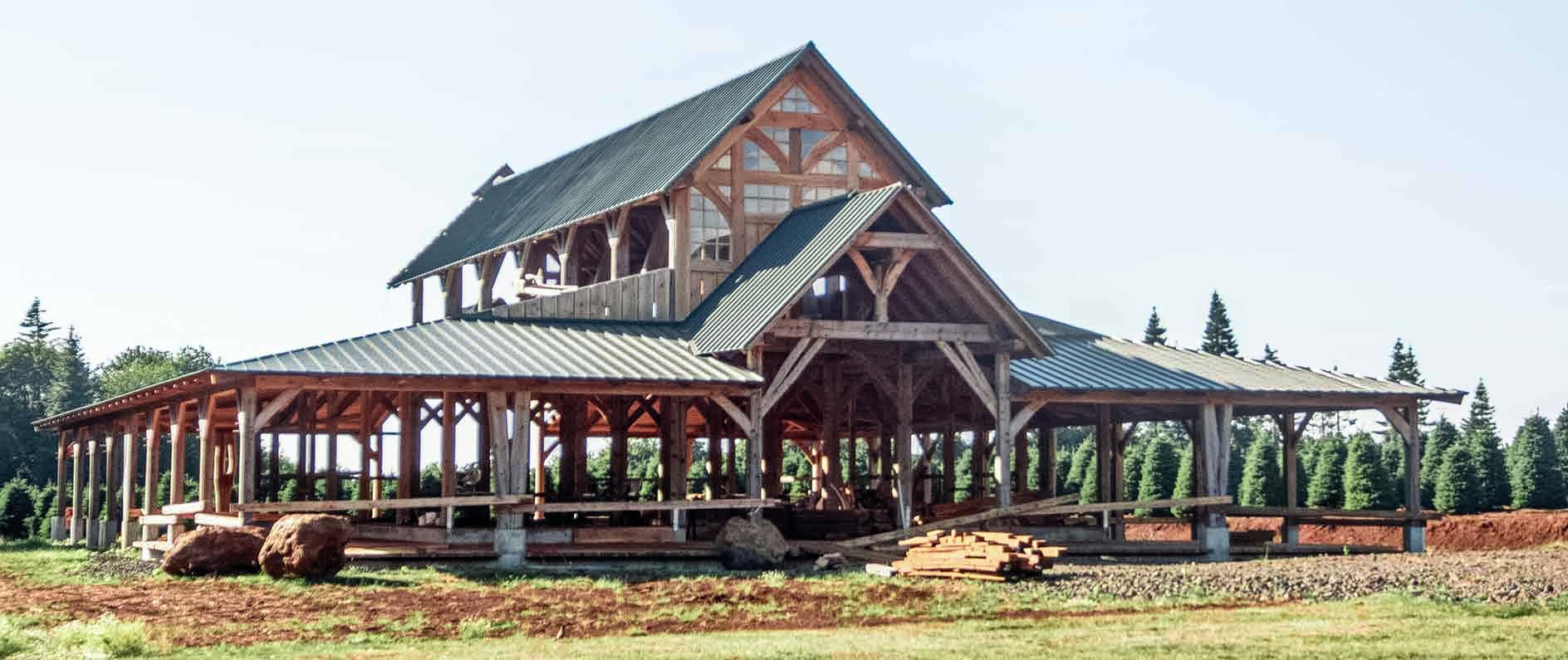 Oregon timber frame barn 2014 the shelter blog for Cost of building a house in montana