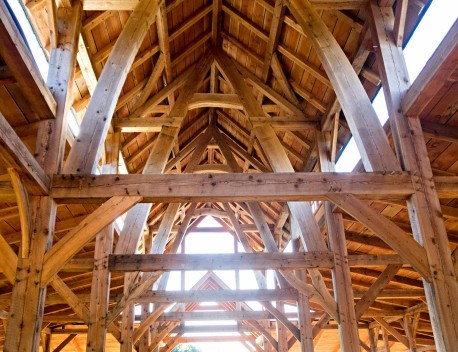 interior of timber frame barn in oregon under construction
