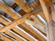 ceiling joist detail of timber frame barn in oregon under construction