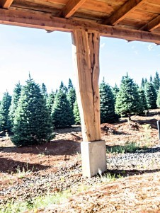 post detail of timber frame barn in oregon under construction