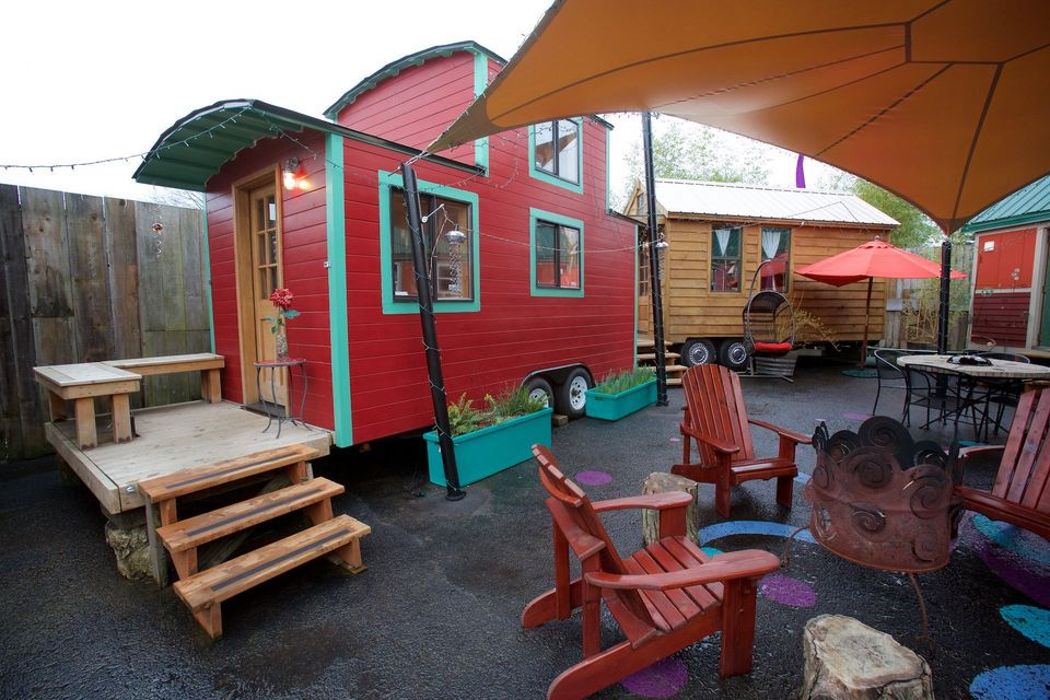 Stay in a Red Caboose at Portland Tiny House Hotel The Shelter Blog