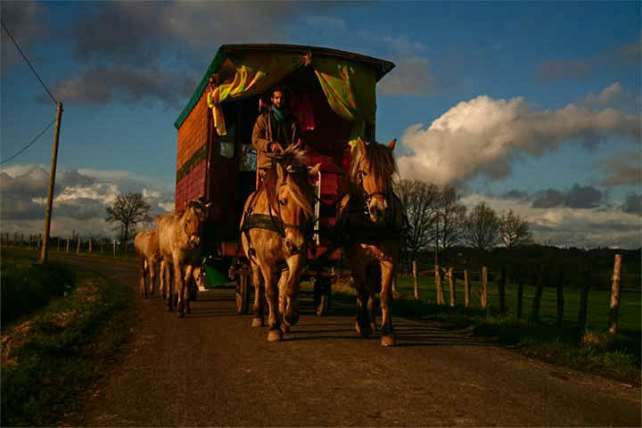 a horse-drawn caravan