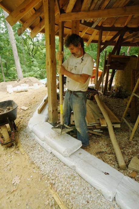 earthbag stemwall - tamping