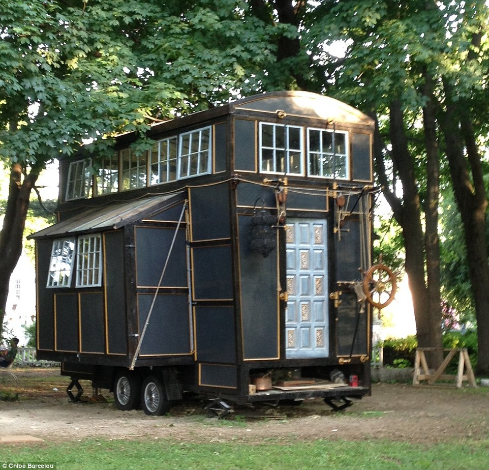 Boston couple build tiny home on wheels from movie sets for Small new build homes