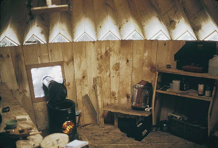 wooden yurt interior