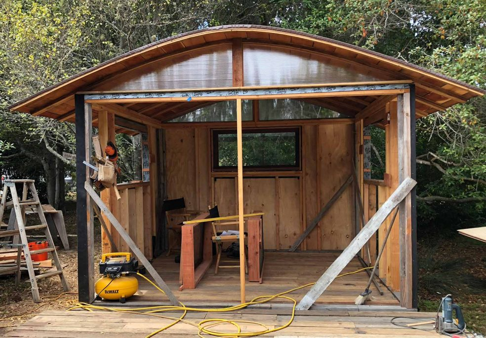 this is 10 by 10 rafters made of four 1 by 4 by redwood bender board 16 long bent glued and clamped together roof sheathing is 1 6 redwood - Curved Roof